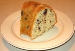 Chocolate Chip Butter Pound Cake, Sliced