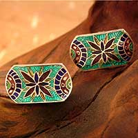 Mens Sterling Silver Cufflinks From India - Floral Shield