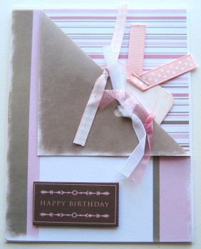 Happy Birthday Card - Shabby Pink & Brown