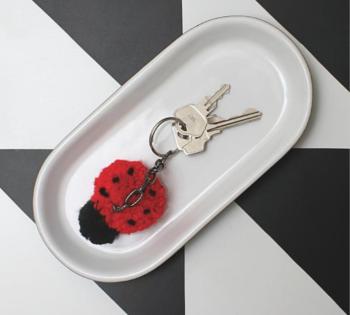 Pom-Poms - Ladybug Keychain