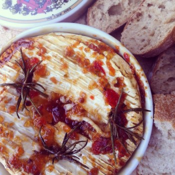 Baked Camembert with Chilli Jam Rosemary