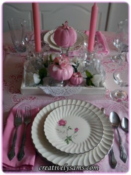 Creatively Sam Tablescape - Pumpkn and Roses