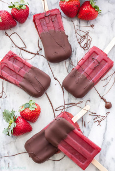 Strawberry Dipped Red Wine Popsicles
